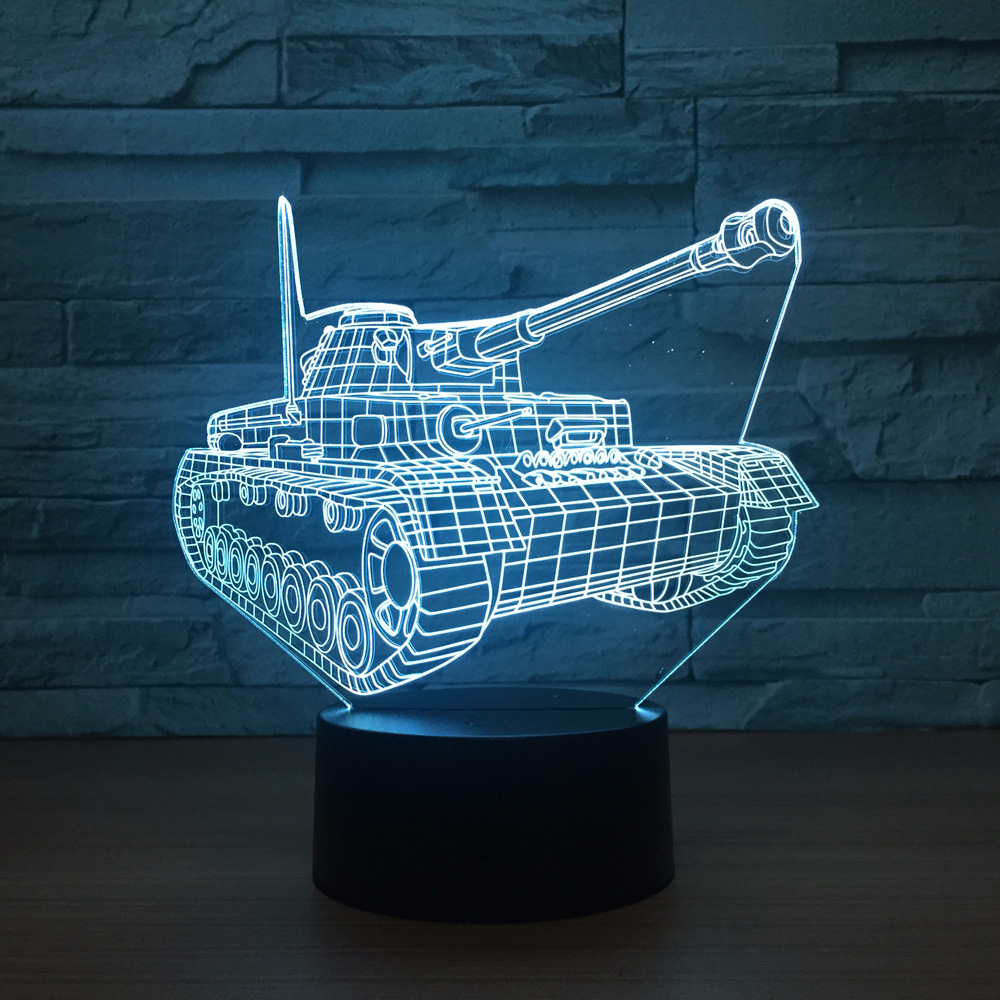Cool Tanks 3d Night Light Touch Switch 7 Color Changing LED Table Lamp Visual USB Night Lights Home Decor For Kids Toy New Gift