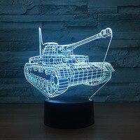 Kühle Tanks 3d Nacht Licht Touch-schalter 7 Farbwechsel LED Tisch lampe Visuelle USB Nacht Led-leuchten Wohnkultur Für Kinder Spielzeug Neues Geschenk