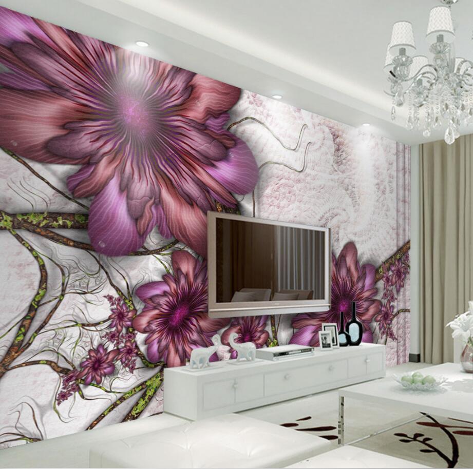 aesthetic bedroom modern minimalist living tv backdrop flowers wallpapers beibehang mural 3d custom