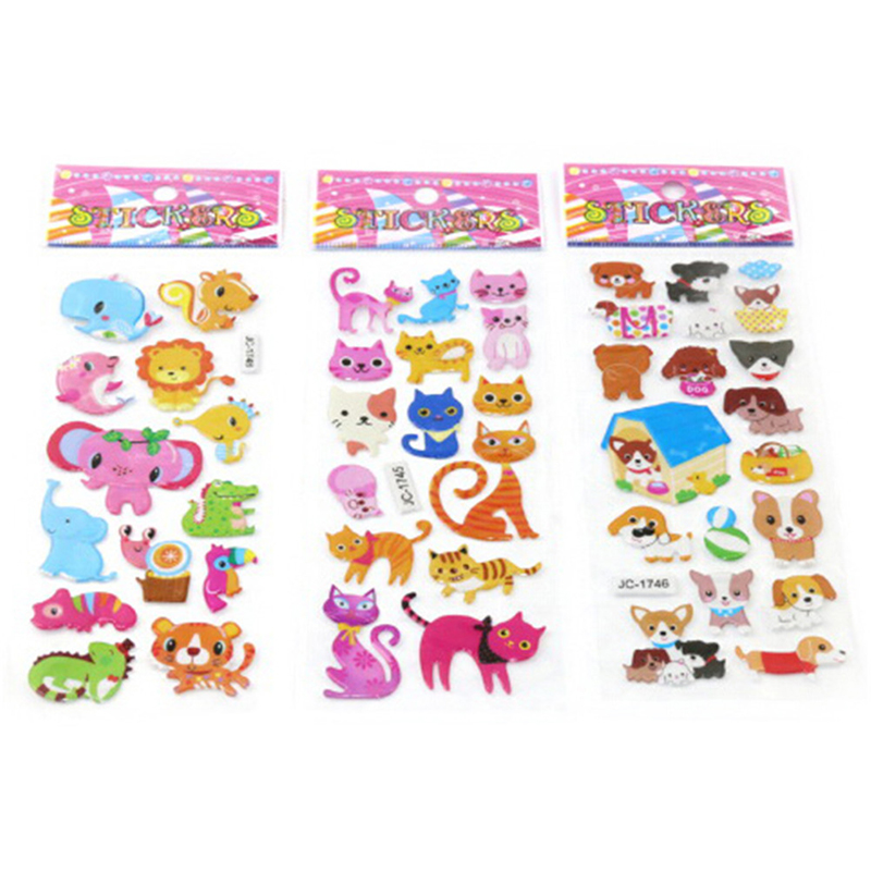 5 Sheets Cute 3D Cartoon Animal PVC Bubble Puffy Stickers Classic Toys Kids Girl Boy Dinosaurs School Teacher Reward