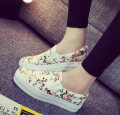 New 2016 Spring Summer Fashion Star Sweet Flatform Round Toe cartoon flowers lady Casual women Canas shoe