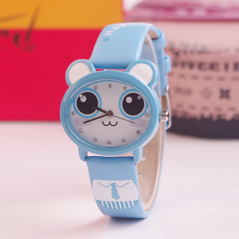 Baosaili Cute Kawaii Kids Quartz Watch Water Resistance Wristwatch Cartoon Animal Print Leather Strap Watches For Children k666 beautiful cartoon rubber strap quartz watch with plane and cloud shaped watchband for children azure