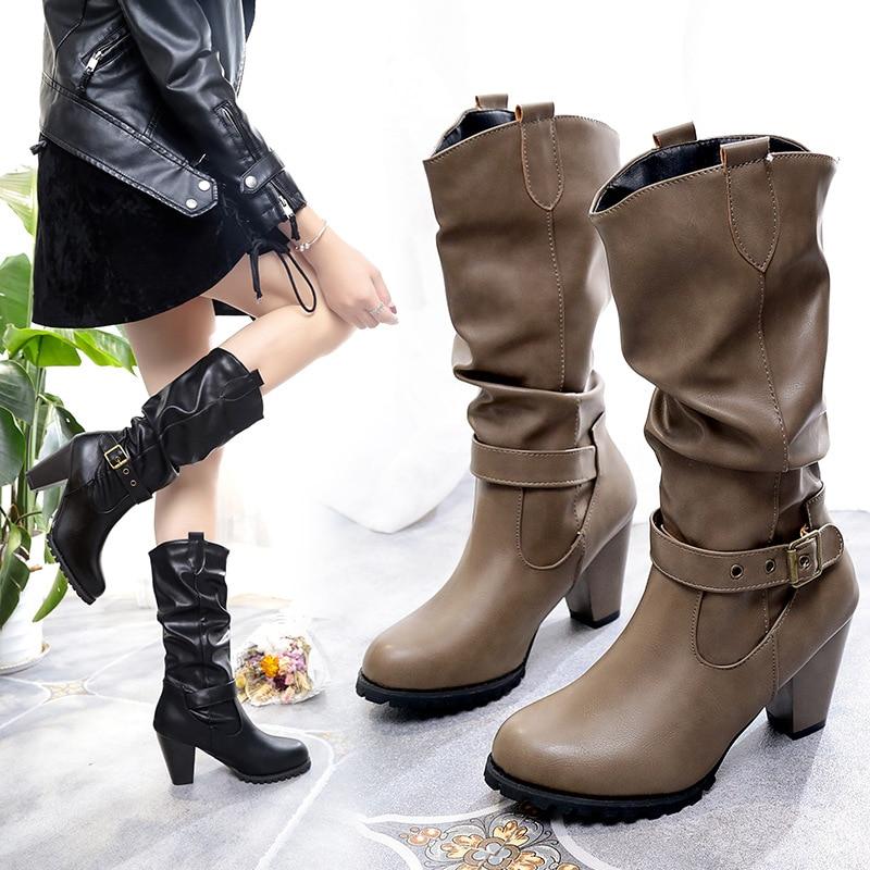 Pu marrón Slip Otoño De Media Redonda Primavera Moda Las Zapatos Botas La Negro Punta Cuero en Mujeres Pantorrilla Mujer Casual xxqBTHF1w