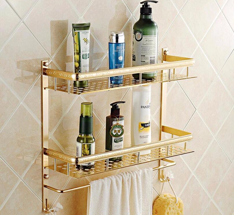 High Quality Space Aluminum 2 Layer Bathroom Shelf 50 cm length Bath Shampoo Shelf Bathroom Shower