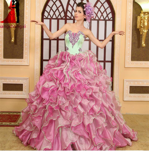 2017 lange Prom Quinceanera Kleider Jacke Appliques Ballkleid Plus ...