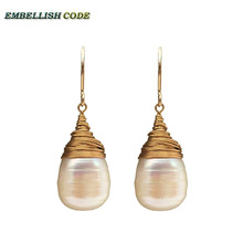 hand made beads DIY pearls Golde plated hook dangle earring white teardrop pearl fire ball style