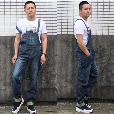ФОТО 2016 Mens BiB Overalls Vintage Mid Waist Loose Blue Plus Size XS-4XL Jeans Overalls Jumpsuit For Men