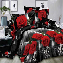 High-end luxury Wedding Four-piece Kit 3d love rose Jacquard Bedding western king duvet cover set flat bed spread(China)