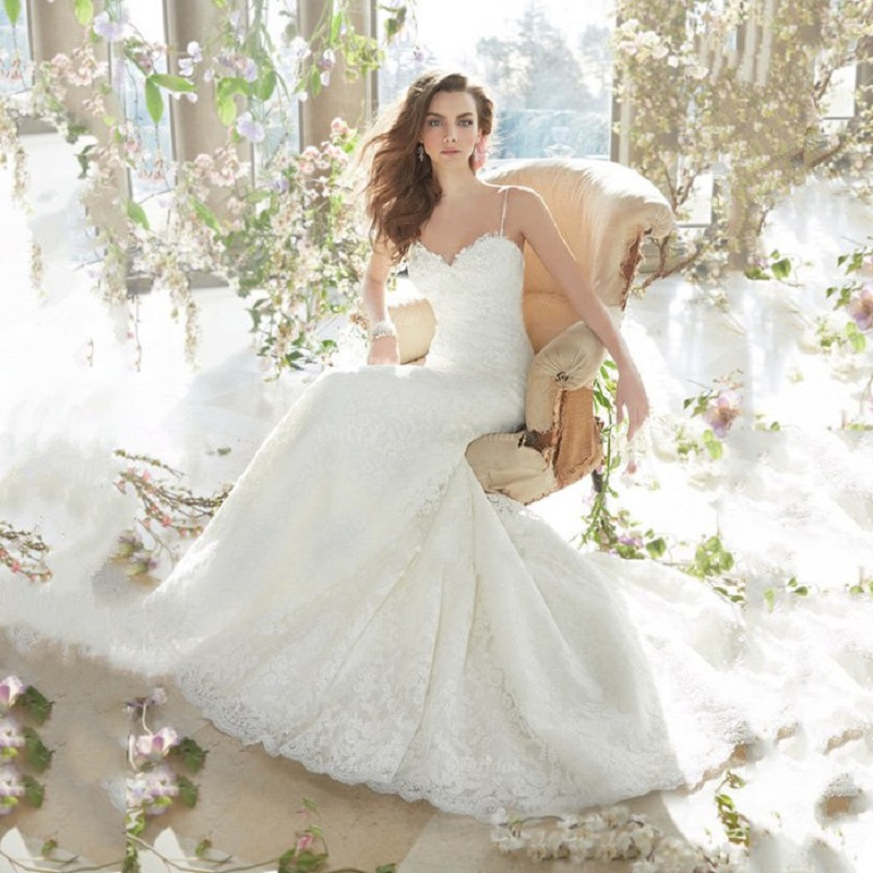 Lace Wedding Gown With Straps: Spaghetti Strap Lace Wedding Dresses Mermaid Sweetheart