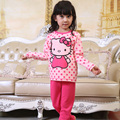 Retail Girl's Pajamas Set for Winter with Fleece 2015 New Children's Thermal Underwear Set Printed with Rabbits & Strawberries