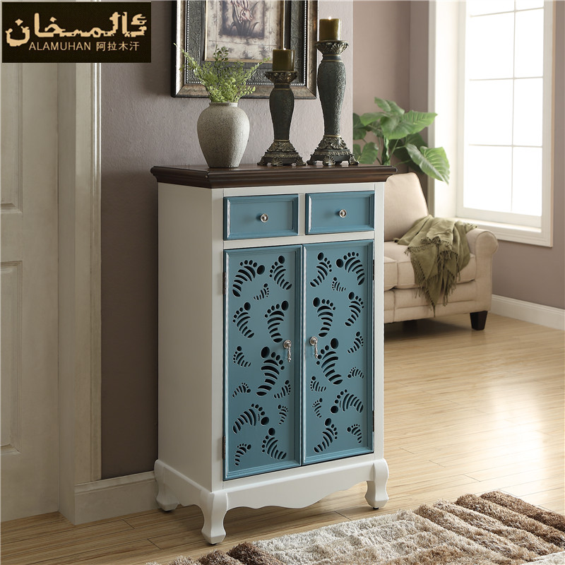 EMS FREE Fashion Living Room Furniture Modern Carved Solid Wood Shoe Cabinet  Double Door Entrance Shoes Racks In Shoe Cabinets From Furniture On ...