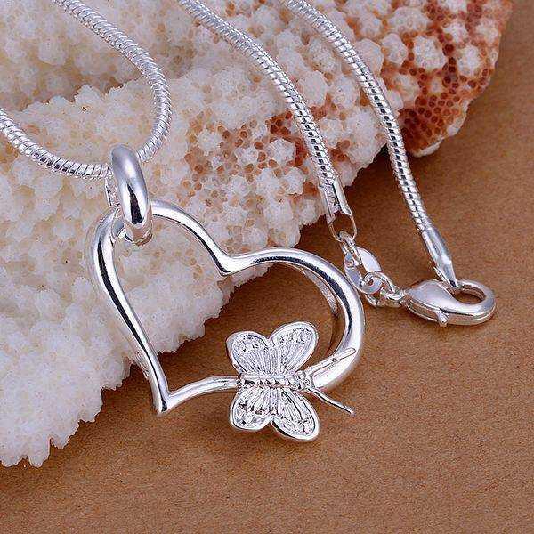 Bán buôn mạ bạc Pendant, 925 thời trang trang sức bạc bướm tim mặt dây vòng cổ cho phụ nữ/đàn ông + Chain SP090