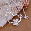 Venta al por mayor colgante Chapado en plata 925 joyería de moda de plata Corazón de mariposa collar de colgantes para las mujeres/hombres + cadena SP090