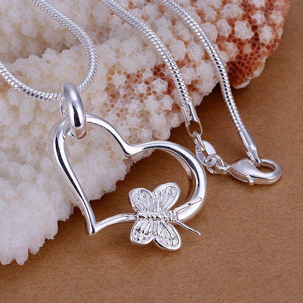 wholesale silver plated pendant, 925 fashion Silver jewelry butterfly heart pendants necklace for women/men +chain SP090