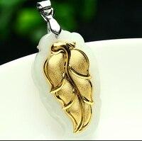 100% Doğal Nephrite Hetian ve 24 K Sarı altın Yaprak Kolye