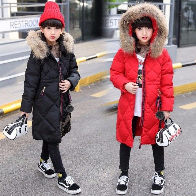 Новогодние товары длинный пуховик для девочек с меховым капюшоном 90% утка вниз-подростков для девочек пальто зимние красные и черные зеленый детская одежда