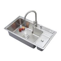 SUS304 Steel Single Bowl 840 450 230MM Kitchen Sink X26101