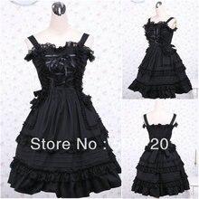 V-1038 Schwarz baumwolle Klassische Halloween kostüme Gothic Lolita Kleid/viktorianischen kleid Cocktailkleid US6-26 XS-6XL