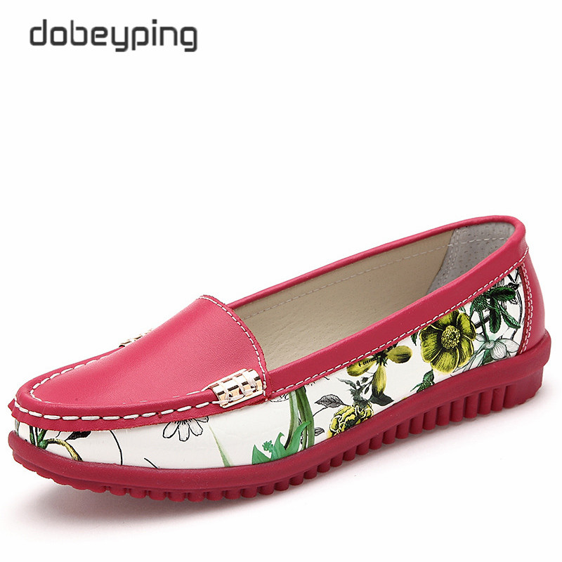 Fashion Printing Flower Women's Casual Shoes Soft Genuine Leather Women Flats Slip On Female Loafers New Moccasin Lady Boat Shoe branded men s penny loafes casual men s full grain leather emboss crocodile boat shoes slip on breathable moccasin driving shoes