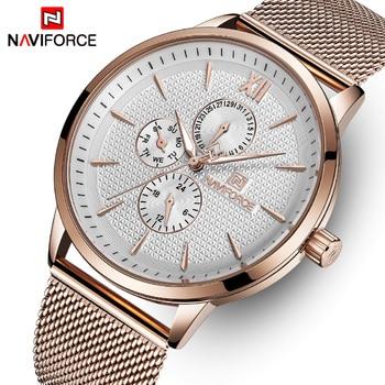 NAVIFORCE Nf 3003 Watches Men Fashion Stainless Steel Watches Quartz Waterproof Wrist Watch