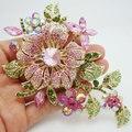 Nova chegada elegante rosa strass cristal broche de flor de noiva dama de honra de casamento romântico strass jóias frete grátis