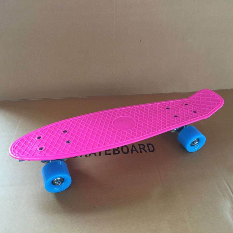 """Image 2 - Pastel Simple Color 22"""" Style Skateboard Child Cruiser Mini Plastic Fish Skate Board With Green Wheels-in Skate Board from Sports & Entertainment"""