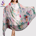 2015 Summer Mulberry Silk Handmade Roll-up Hem Female Long Silk Scarf Shawl,Digital Inkjet Plus Size Women Scarves,Beach scarf