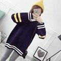 НОВЫЕ горячие продажи женщин осень зима длинные v-образным вырезом большие ярдов вязать свитера женщина колледж ветер свободные пуловеры свитер 3 цвета