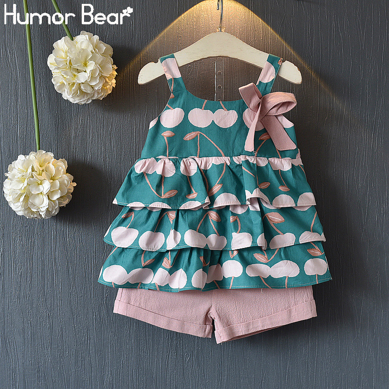 Humor Bear Baby Girl Clothes Suit Summer Cute New Fashion Sling Fruit T-shirt+Pocket Pants Two-piece Suit Children's Clothes Set
