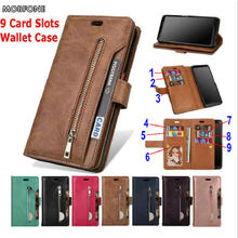 For Samsung Galaxy A30 A50 A70 Luxury Zipper Wallet 9 Card Slots Leather Case M20 M30 A20E Luxury Flip Stand Cover Pouch Bag S10 mooncase suede leather side flip wallet card holder stand pouch чехолдля samsung galaxy s6 brown