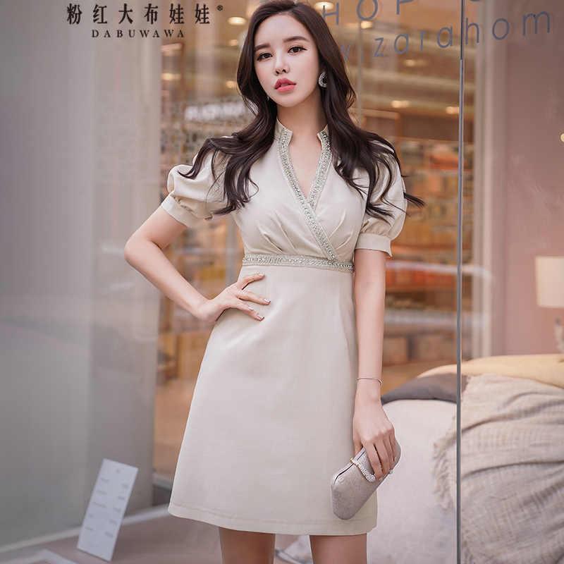 3f963b54ca34 Dabuwawa Summer beading High Waist V Neck Elegant Party Midi Dress for  Girls Woman Office Lady