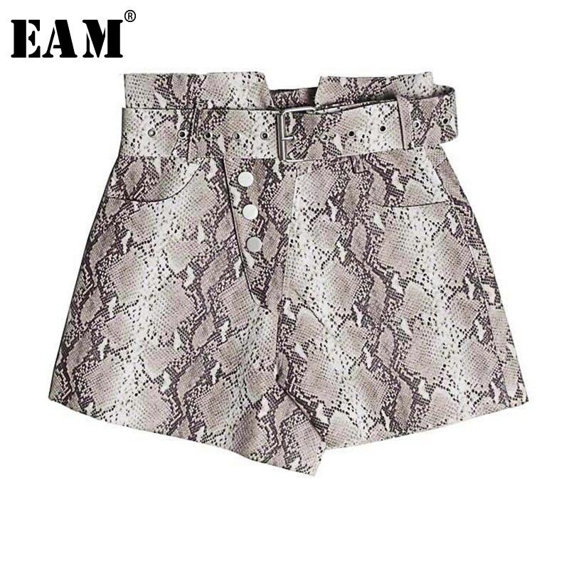 [EAM] 2019 New Spring High Waist Snake Printed Pu Leather Irregular Loose Personality   Shorts   Women Fashion Tide JI993