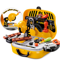 New Pretend Play Kids Construction Tools Toy Set For Baby Boy Plastic Chainsaw Screws Hammer Suitcase Garden Carpentry Tool Box