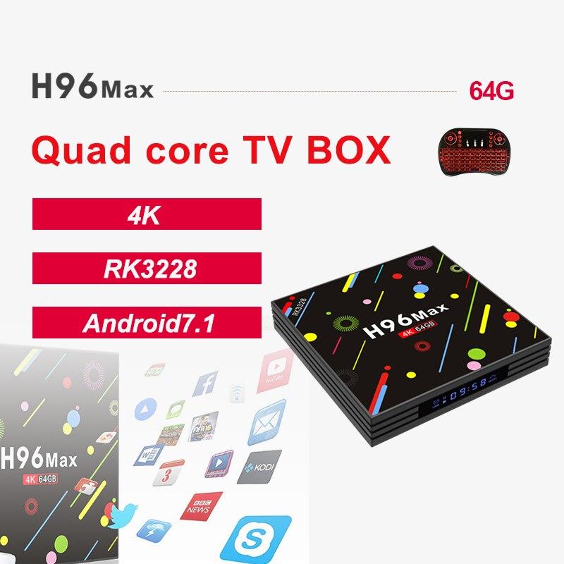 H96 MAX H2 Android 7.1 4GB 64GB Rockchip RK3328 Quad-core 4K VP9 Bluetooth WiFi smart Set-top box Media Play PK X92 X96