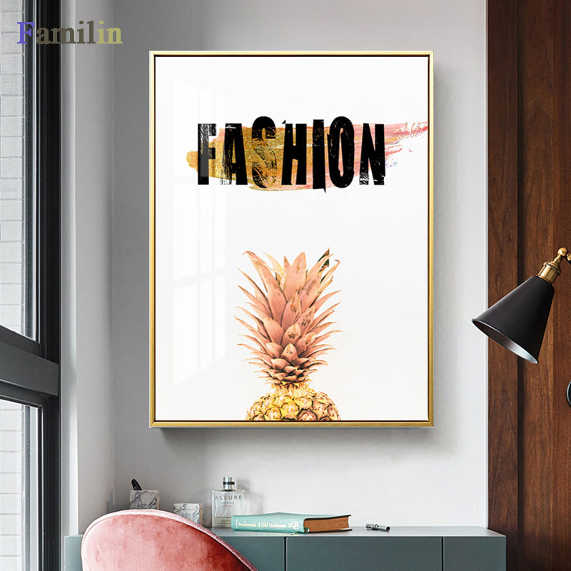 HTB1ZpFwRNTpK1RjSZFKq6y2wXXaj Green And Gold Pineapple Monstera Plant Painting Large Leaf Poster Print Wall Art For Living Room Aisle Unique Modern Decoration