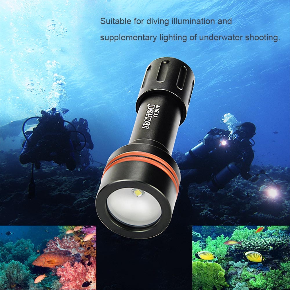 ARCHON D11V LED 3 Modes 860LM Underwater 100M Photographing Light Diving Video  Flashlight Torch Lamp Lantern