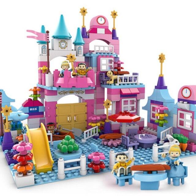 3sets big size princess prince pink Castle Building Blocks romantic happy life Girl friends Toys Compatible LegoIN duplo Bricks