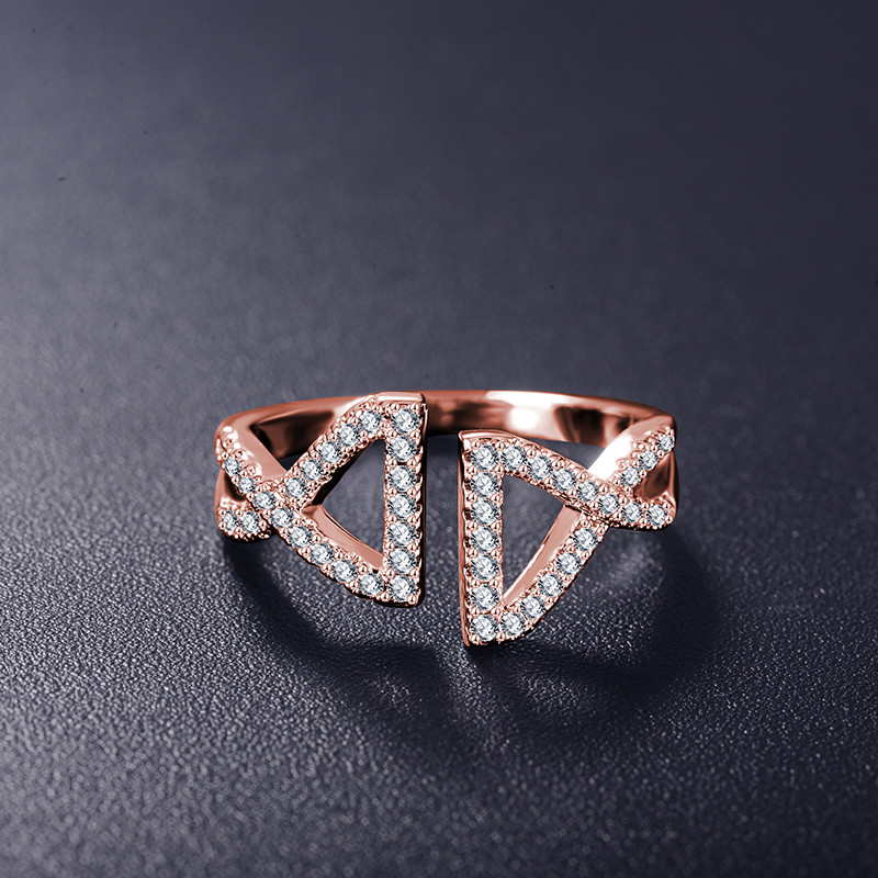 Cute Double Fish Platinum/Rose Gold Plated  Rings with Cubic Zirconia Stones