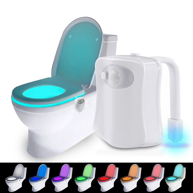 1Pcs Smart Bathroom Toilet Nightlight LED Body Motion Activated On/Off Seat Sensor Lamp 8 Color PIR Toilet Night Light lamp sensor toilet light led lamp human motion activated pir 8 colours automatic night lighting