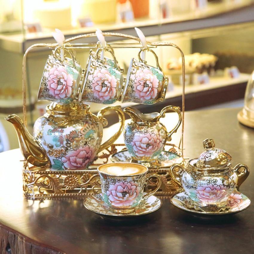 Service de tasses à café en porcelaine | De qualité supérieure, service de tasses à thé britannique en porcelaine, Pot en céramique, crémier bol de sucre, théière soirée thé de l'après-midi