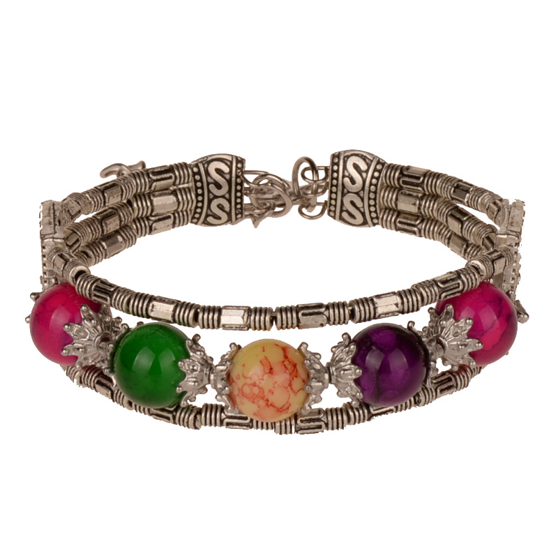 Women Bracelets Bangles Adjustable Bracelet Chinese Ethnic Color Beads Antique Silver Tone Handmade Jewelry 4 colors in Bangles from Jewelry Accessories