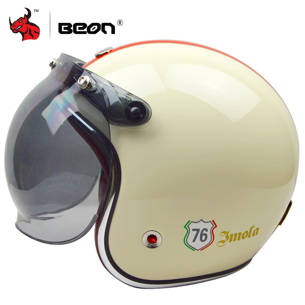 цена на BEON Retro Vintage Motorcycle Helmet 3/4 Open Face Helmet German Style Scooter Chopper Cruiser Biker Moto Helmet Bubble Visor