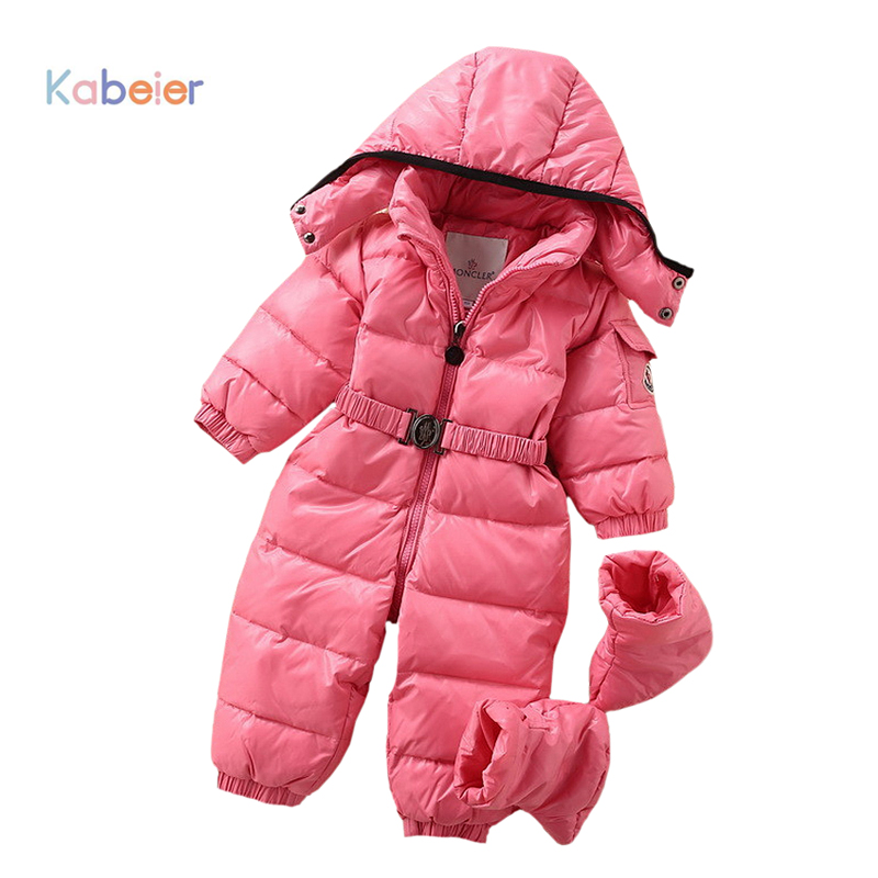 bb5fb1a0d 2016 Newborn Winter Clothing Baby Girls Thick Down Warm Rompers Pink ...