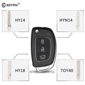 KEYYOU 3 Button Folding Flip Remote Key Shell Case Smart Car Key Fob Uncut Blade For Hyundai i10 i20 i30 i35 i40 IX45 Genesis