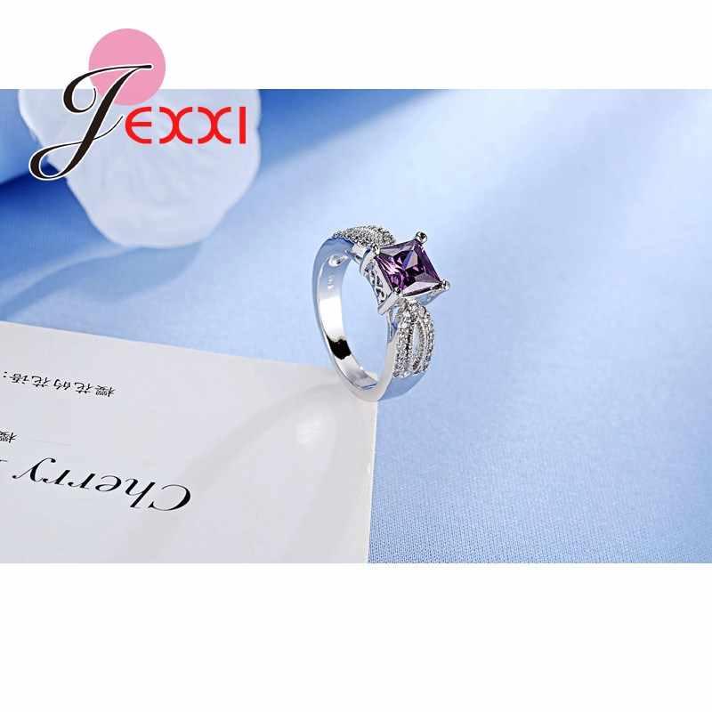 Elegant Luxury Charm ออสเตรียคริสตัล CZ 925 แหวนเงินสเตอร์ลิงสำหรับผู้หญิงแหวนหมั้นแหวนเครื่องประดับ