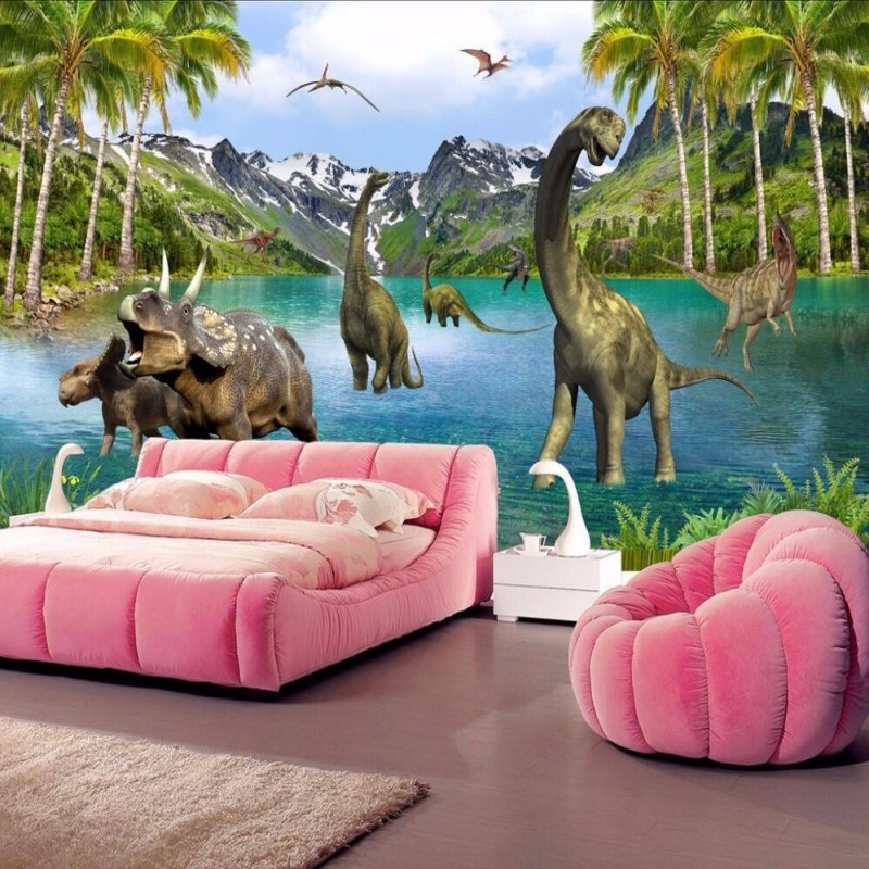 Beibehang Custom Photo Wallpaper 3D Stereo LargeJurassic era dinosaurs living room bed bedroom flash silver cloth wallpaper