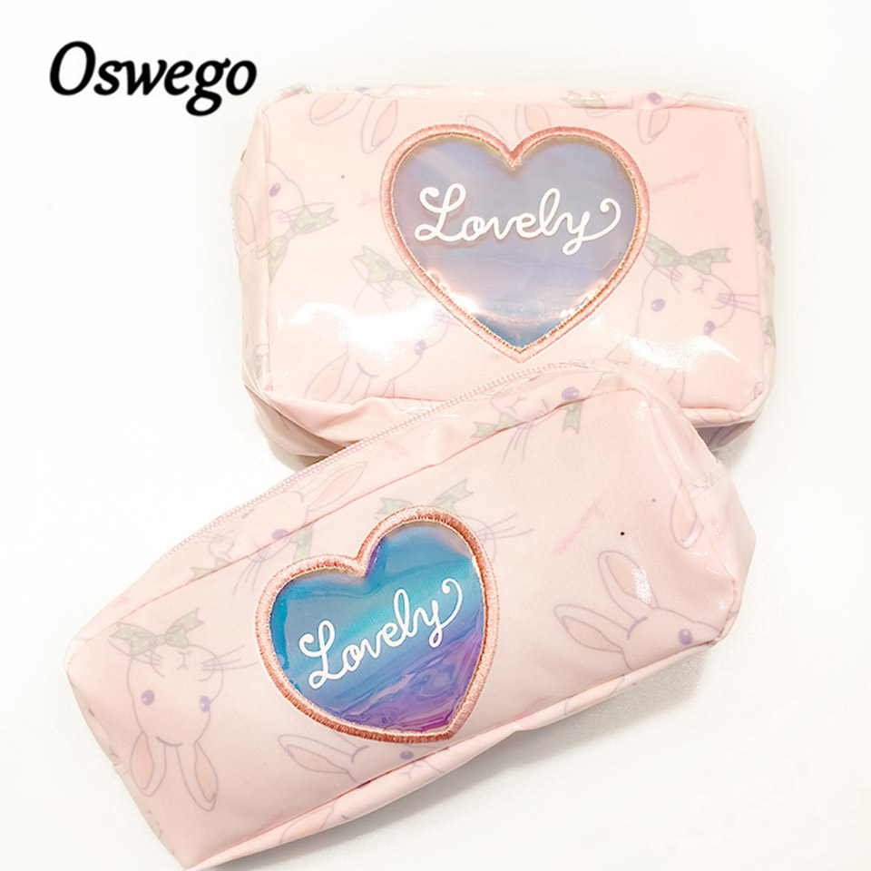 Oswego Animal Rabbit Cosmetic Bag Waterproof Women Make up Organizer Storage Pouch Toiletry Kit Bag For Ladies Cosmetic Pouch