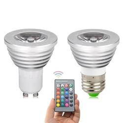 Светодиодный RGB светильник GU10 E27 5 Вт 16 цветов, изменяемый, светодиодный светильник, точечный светильник, волшебный праздничный декоративный...