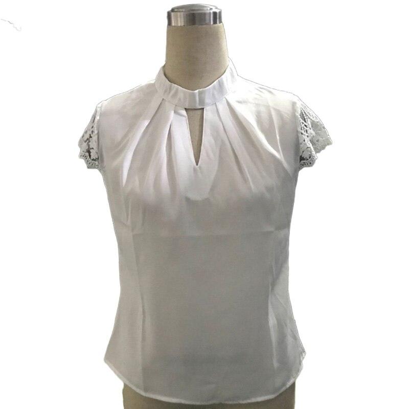 Women Sexy Blouses Plus Size 3XL Summer Casual Hollow Chiffon Short Sleeve Splice Lace Tops Blouse Shirts blusas mujer de moda