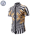 3D Print Striped Pattern Black and White Shirts Men Pattern Casual Fancy Fit Slim Dress Camasia Social Masculina Brand Clothing